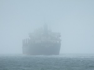 ship in fog rough sea ehelm rudder control technology