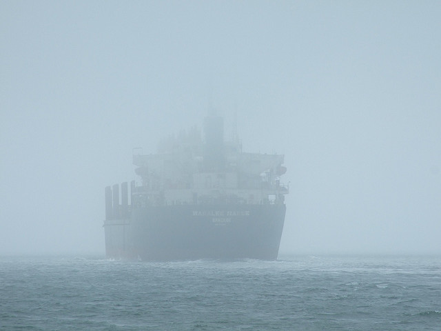 ship in fog rough weather seas states ehelm rudder control technology